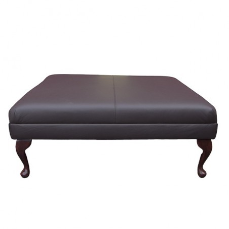 Extra Large Footstool in a Mocha Madras Genuine Leather