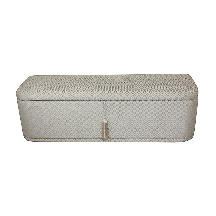 Large Ottoman in a Diamond Beige Chenille Fabric - 17082