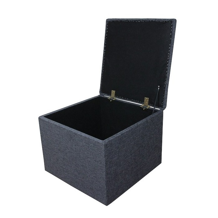 Storage Box/Footstool in a Charcoal Grey Fabric - ANC1115