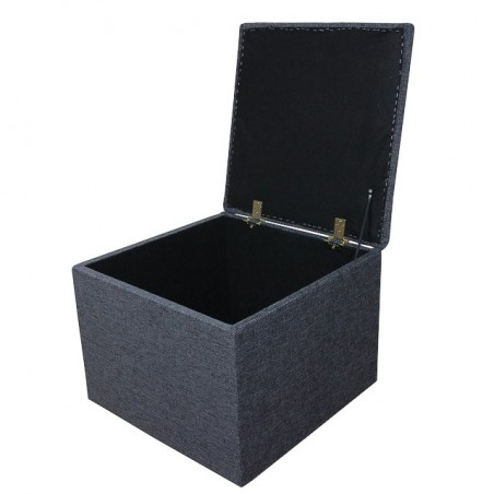 Storage Box / Footstool in a Charcoal Grey Fabric - ANC1115