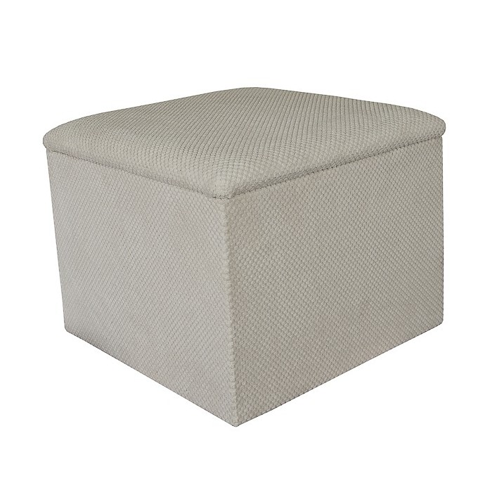 Storage Box / Footstool in a Dimple Natural Fabric - 16131