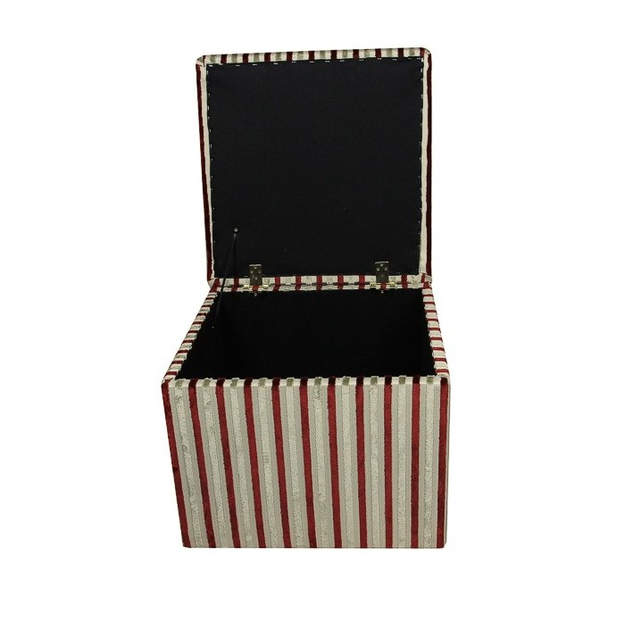 Storage Box / Footstool in an Eleganza Stripe Red and Gold Fabric - 17272