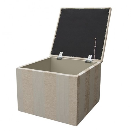 Storage Box / Footstool in a Woburn Beige Stripe Fabric - 17062