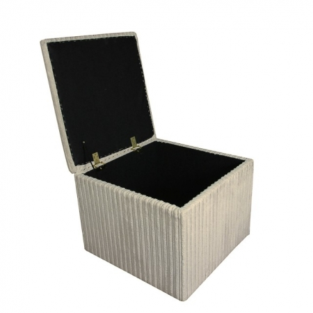 Storage Box / Footstool in a Jumbo Cord Natural Fabric - 16100