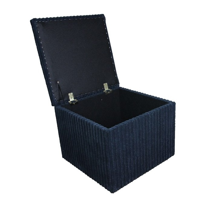 Storage Box / Footstool in a Jumbo Cord Navy Fabric - 16113
