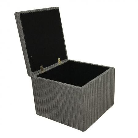 Storage Box / Footstool in a Jumbo Cord Slate Grey Fabric - 16107