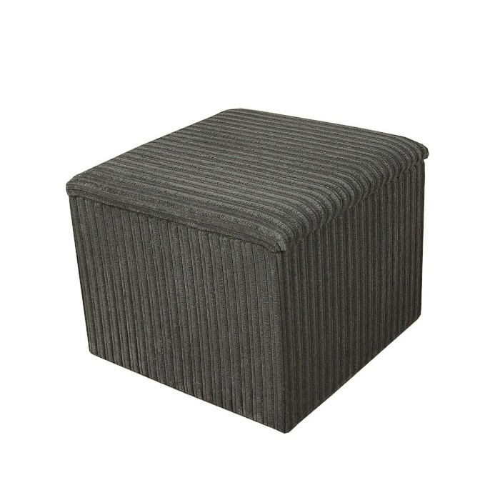 Storage Box / Footstool in a Jumbo Cord Slate Grey Fabric - 16107
