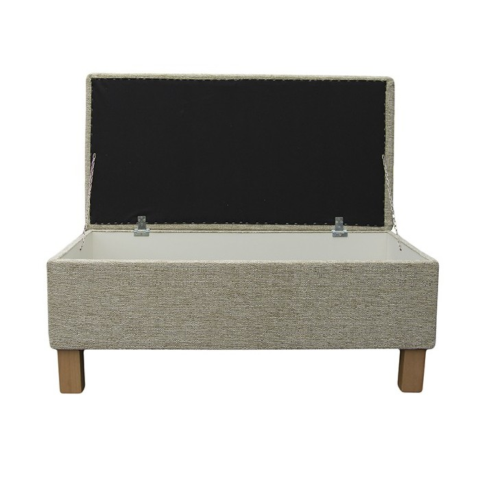 Large Storage Box / Footstool in a Caledonian Textured Plain Mint Fabric - 15214