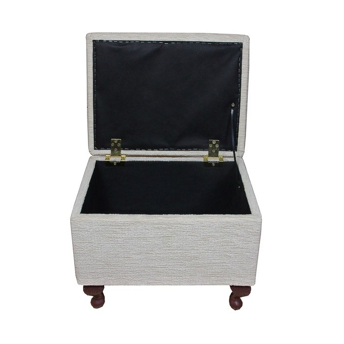 Sewing Box in a Boucle Ivory Fabric - 15731