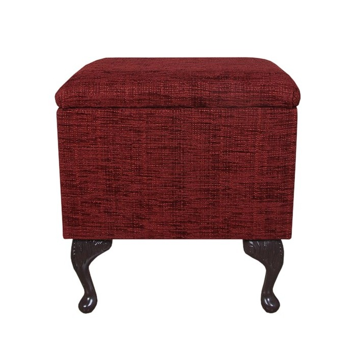 Sewing Box in a Flame Red Wine Fabric - 15929