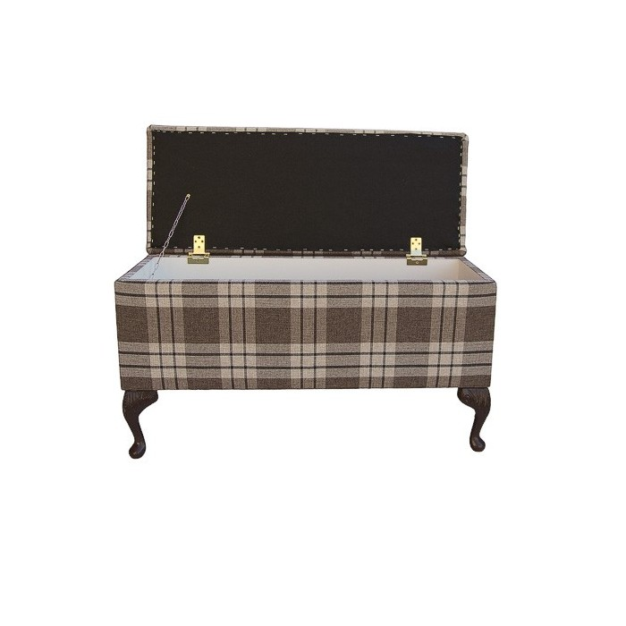 Wide Storage Box/Footstool in a Chestnut Kintyre Tartan Fabric