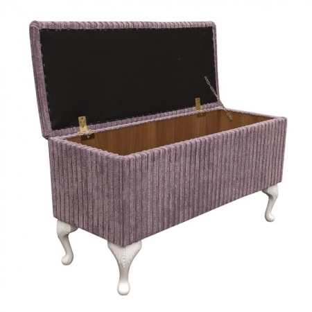 Wide Storage Box/Footstool in a Lilac Jumbo Cord Luxury Velvet Fabric - 16108