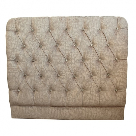 Small Double (4ft) Headboard in a Stone Chenille Fabric with Diamante Buttoning