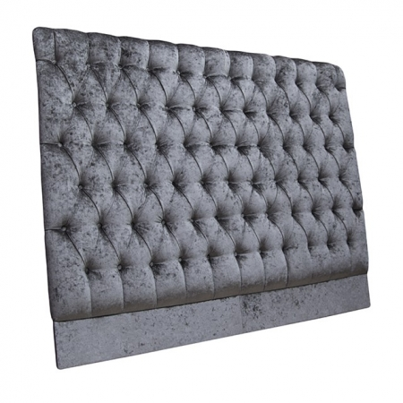 King Size 5 ft Headboard in a Pewter Senso Chenille Fabric with buttoning.