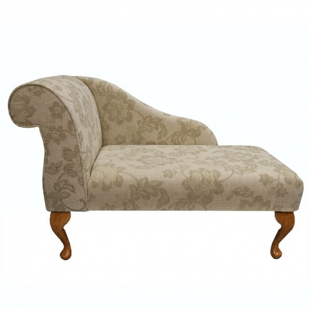 "41"" Mini Chaise Longue in a Floral Oatmeal Fabric - 16652"