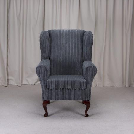 Westoe Armchair in a Metropolis Slate Grey Jumbo Cord Fabric - Metropolis Slate