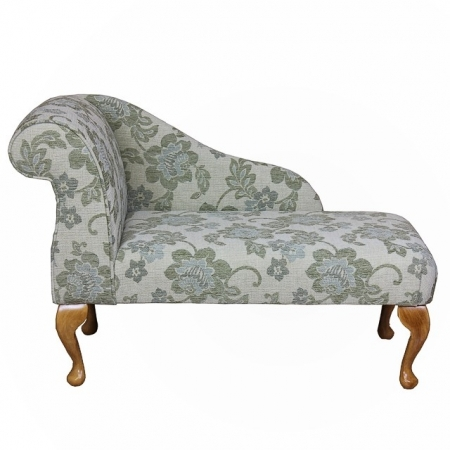 "41"" Mini Chaise Longue in a Green Floral Celadon Fabric - 16651"