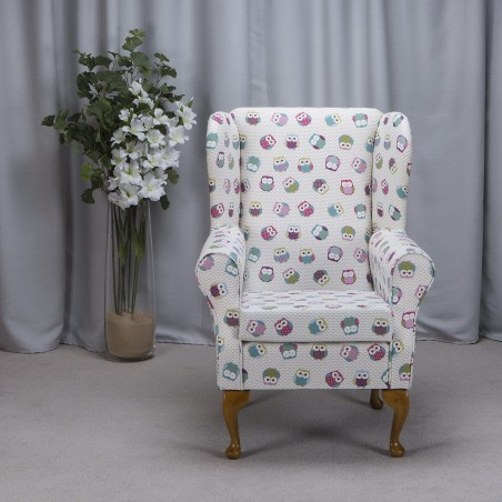 Westoe Armchair in a Novelty Time Owl Print Fabric - Owl Print