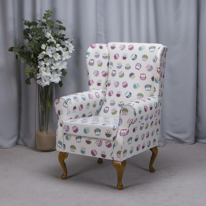 Westoe Armchair in a Novelty Time Owl Print Fabric - Owl Print