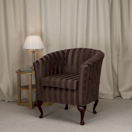 Designer Tub Chair in a Fortuna Stripped Brown Chenille Fabric- FORT203