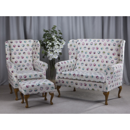 2 Seater Westoe Sofa, Armchair and Footstool in a Novelty Time Owl Fabric