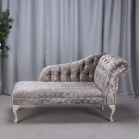 "56"" Buttoned Classic Style Chaise Longue in a Sand / Gold Rippled Fabric"
