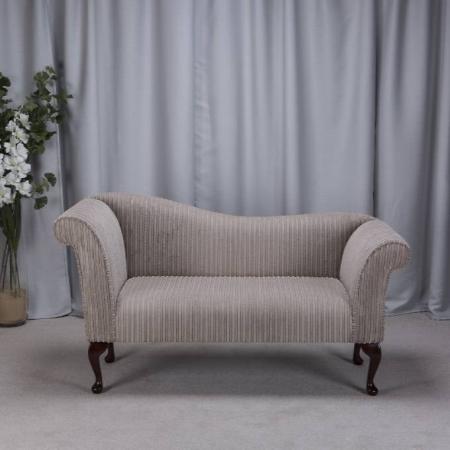 Small Chaise Sofa in a Mink Jumbo Cord Luxury Velvet Fabric