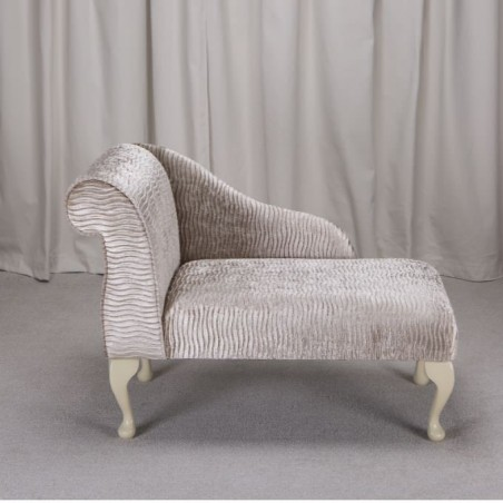 """41"""" Mini Chaise Longue in a Sand / Gold Rippled Fabric - FANT101"""