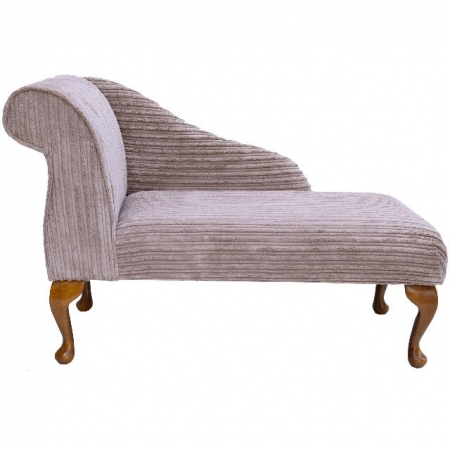 "41"" Mini Chaise Longue in a Luxury Velvet Jumbo Cord Mink Fabric - 16101"