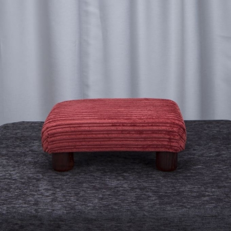 Small Footstool in a Jumbo Henna SR16111 Fabric with Hardwood round Legs