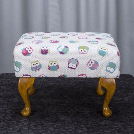 Small Footstool in a Novelty Time Owl Print Fabric