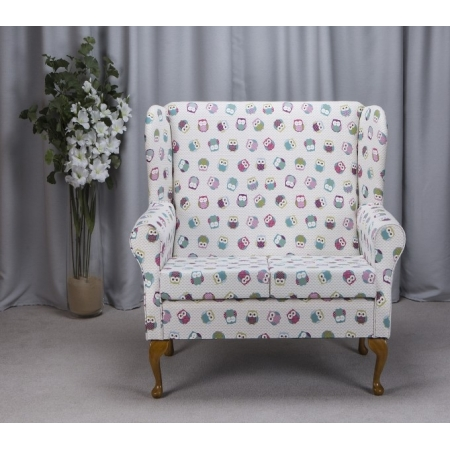 2 Seater Westoe Sofa in a Novelty Time Owl Print Fabric.
