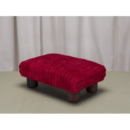 Small Footstool in a Jumbo Rouge SR16109 Fabric with Hardwood round Legs