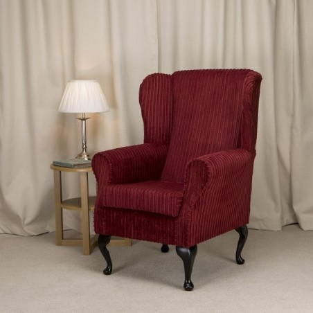 Small Westoe Armchair in a Jumbo Red Cord SR16111 Fabric