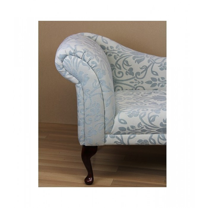 "56"" Classic Style Chaise Longue in Medallion Blue Fabric - 17051"