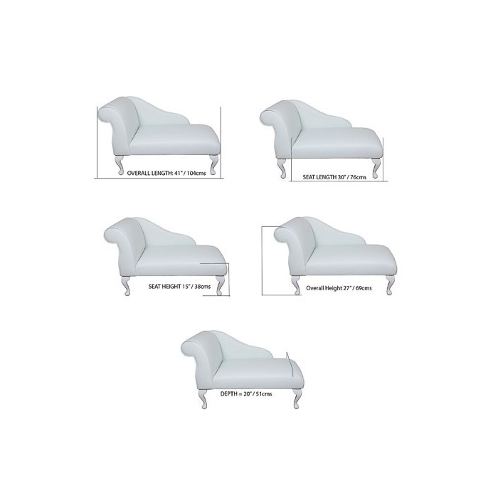 "41"" Mini Chaise Longue in an Oyster Rippled Fantasia Fabric - FANT100"
