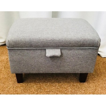 Storage Stool, Ottoman, Pouffe in a Grey Sawana Fabric