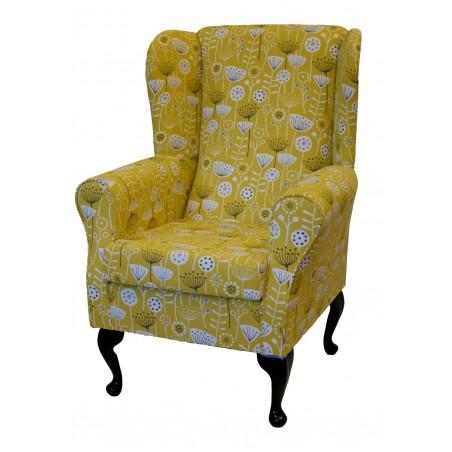 Westoe Wingback Fireside Chair in a Bergen Ochre Floral Fabric