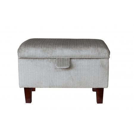 Storage Footstool, Ottoman, Pouffe in a Topaz Slate / Silver Fabric