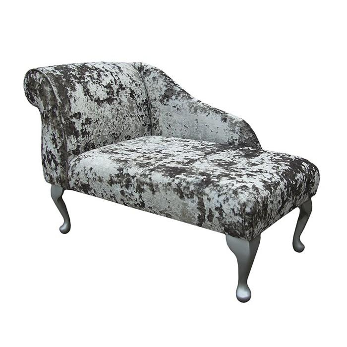"41"" Mini Chaise Longue in a Lustro Mercury Fabric - LUS1316"