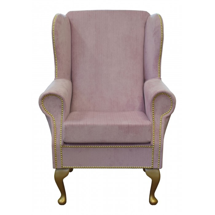 Wingback Fireside Chair in an Azzurro Blossom Pink Fabric With Gold Studding Detail