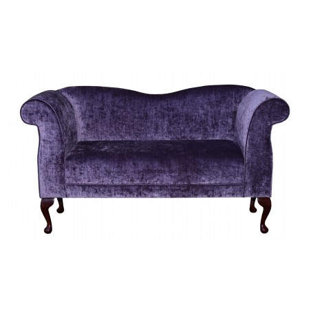 "60"" Double Chaise Sofa in a Pastiche Slub Damson Fabric with Queen Anne Style Legs - 18015"