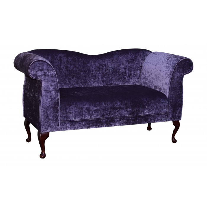 Large Chaise Sofa in a Pastiche Slub Damson Fabric with Queen Anne Style Legs - 18015