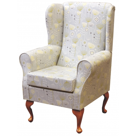 Westoe Wingback Fireside Chair in a Bergen Ochre Floral Fabric