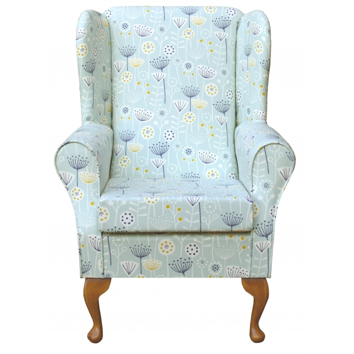Westoe Wingback Fireside Chair in a Bergen Seafoam Blue Floral Fabric
