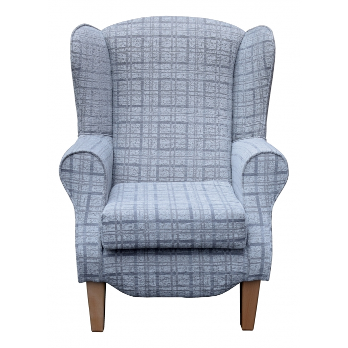 Duchess Wingback Armchair in a Grey Maida Vale Plaid Fabric with Tapered Wooden Legs