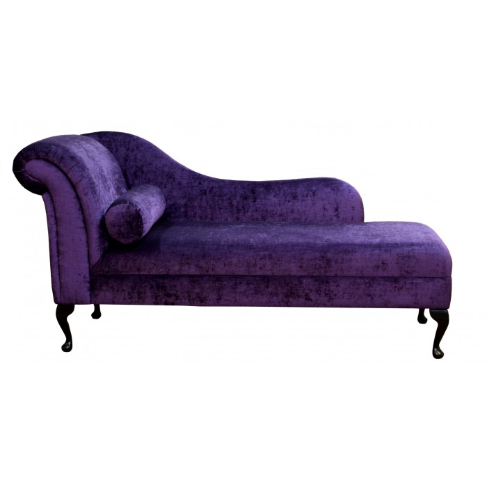 "70"" Classic Style Chaise Longue in a Pastiche Plum Fabric on Queen Anne Legs"
