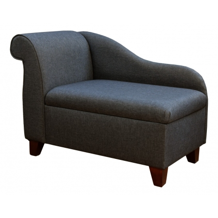 "41"" Storage Chaise Longue in a Dark Grey Sawana Fabric on 4"" Tapered Legs"
