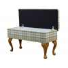 Medium Dressing Table Storage Stool in a Piazza Green Tartan Fabric - PIA1631