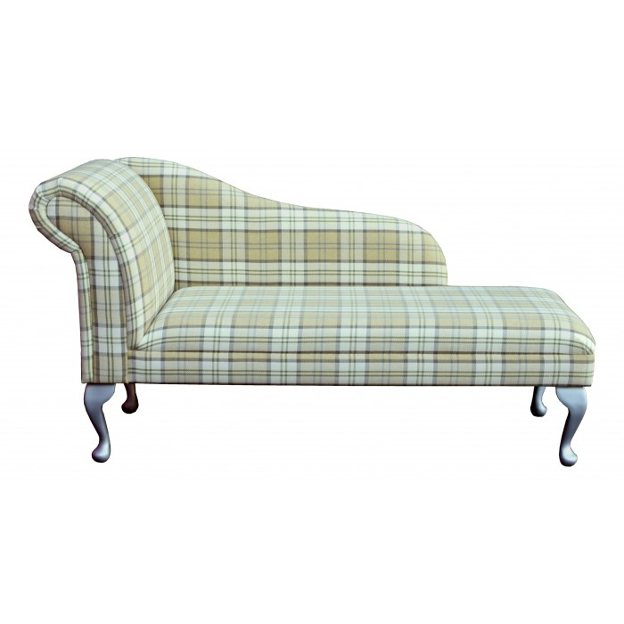"""56"""" Classic Style Chaise Longue in a Green Tartan Piazza Fabric - PIA1631"""